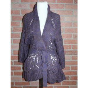 Nanette Lepore Purple Mohair Knit Cardigan Sweater